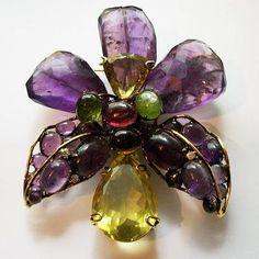 Large Iradj Moini Amethyst, Citrine, Peridot and Aventurine Orchid Pin Brooch Pendant | eBay