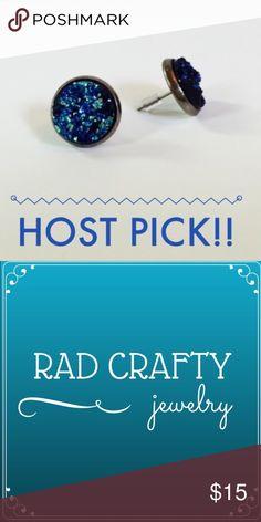 🎉HP🎉💙Blue Textured Druzy Earrings Host pick 1/12/16 Best in retail party!!  12mm Blue Textured Druzy Stud Earrings  Brass Base Metal Ear Stud - Nickel Free, Lead Free and Cadmium Free Rad Crafty Jewelry Earrings