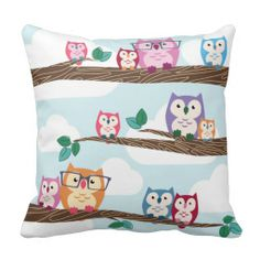 Cute Colorful Hipster Owls on Branches