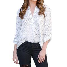 a222a6fe6b UOFOCO Long Sleeve Shirt for Women Tops Casual Blouse VNeck Polka Dot Print  Full