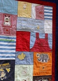 A memory quilt made of baby clothes
