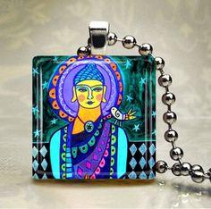 Buddha Necklace Folk Art Jewelry  Pendant by HeatherGallerArt