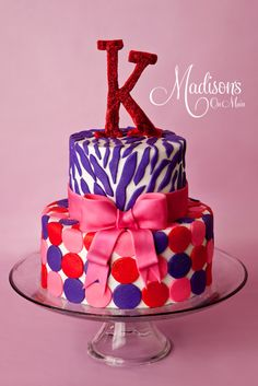 A sweet cake for Katey! She wanted pink, purple, zebra, and polka dots! I made the K out of fondant as well as the accents on the cake. cakes and cupcakes Birthday Cakes Delivered, Special Birthday Cakes, Happy Birthday Cakes, Cake Birthday, 16th Birthday, Birthday Parties, Beautiful Cake Pictures, Beautiful Cakes, Amazing Cakes