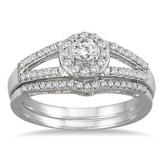 1/2 Carat Split Shank Diamond Bridal Set in 10K White Gold * You can get more details here : Jewelry Bridal Sets