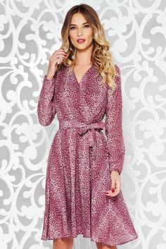 """StarShinerS burgundy dress elegant with inside lining with elastic waist airy fabric, accessorized with tied waistband, inside lining, """"V"""" cleavage, elastic waist, long sleeves, elastic held sleeves, slightly transparent fabric, airy fabric, flaring cut"""
