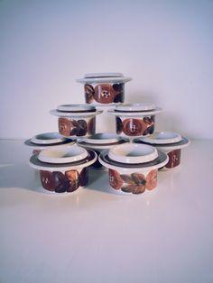 Mid Century Arabia Finland Rosmarin Egg Cups 8x.. Design by Ulla Procope.. 1961 - 1972.. made in Finland.