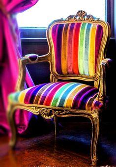 Rainbow-striped chair