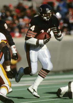 Walter Payton set the NFL career rushing record with 16,726 yards during his long career with the Bears (1975-1987). (National Football League)