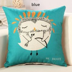 Brave owl square pillow for couch cartoon panda animal sofa cushions