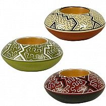 Shipibo Tea Light Holder from Peru            You'll love adding a touch of color and culture to your home décor with  The Gifting Store's      Shipibo Tea Light Holders from Peru.        These beautiful tea light holders will make a beautiful one of a kind eco friendly gift . Found in our candle   collection, these tea light holders  are handmade ceramics from Peru. The Shipibo tribe is an ancient Peruvian ethnic group who maintain strong tribal identity, ancient