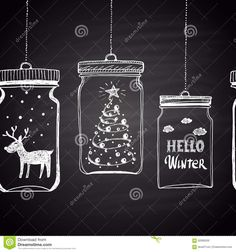 Chalk drawn white horizontal border with Christmas tree clouds text snow and deer in a jar. Happy New Year Theme. Illustration about holiday blackboard season chalk - 62089200 Red And Gold Christmas Tree, Christmas Tree Background, Simple Christmas Cards, Traditional Christmas Tree, Christmas Doodles, Ribbon On Christmas Tree, Christmas Jars, Christmas Tree Crafts, Christmas Drawing