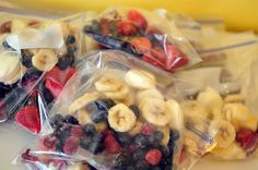 Do it yourself smoothie packs -- including freezing yogurt -- pop in blender for 8  1 lb. strawberries  3 bananas  2 cups blueberries  8 oz. raspberries  20 oz. yogurt - freeze yogurt in muffin tin first.  Add splashes of milk, blend.