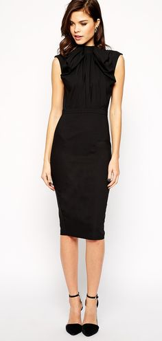 Pencil Dress with Oversized Bow   ASOS