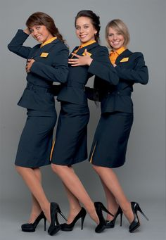 Avianova stewardesses strip off for nude in Maxim Russia 2011 (from left to right): Olga T. Age: 26 years of flight experience: 471 hours, Olga K. Age: 25 years of flight experience 670 hours, Alexandra K. Age: 27 years of experience: 920 hours Air Hostess Uniform, Flight Girls, Airline Cabin Crew, Airline Uniforms, Women Legs, Attendance, Models, Flight Attendant, In Pantyhose