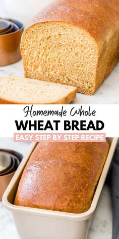 This Whole Wheat Bread is made with whole wheat flour and your favorite natural sweetener. A soft and fluffy sandwich bread that stays fresh for days! Whole Wheat Sandwich Bread Recipe, Bread Machine Wheat Bread Recipe, Loaf Bread Recipe, 100 Whole Wheat Bread, Honey Wheat Bread, Whole Wheat Pancakes, Sandwich Bread Recipes, Healthy Bread Recipes, Baking Recipes