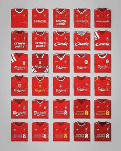 Evolution of the Reds' jersey Liverpool 2017, Liverpool Anfield, Liverpool Football Club, Liverpool Fc Wallpaper, Liverpool Wallpapers, This Is Anfield, Premier League Champions, Good Morning Picture, Football Wallpaper