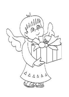 Dessin à colorier d'un petit ange portant un paquet cadeau                                                                                                                                                     Plus