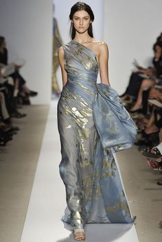 Fashion Week Spring Reem Acra Beautiful, minus the pouf on . - Fashion Week Spring Reem Acra Beautiful, minus the pouf on the side. Gold foiling on cornflower blue silk. Fashion Week Spring Reem Acra Source by - Style Haute Couture, Couture Fashion, Runway Fashion, High Fashion, Fashion Show, Fashion Fashion, Fashion Poses, Classy Fashion, Fashion Spring