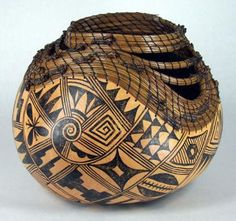 Item Detail - Man in the Maze Hand Painted Gourds, Decorative Gourds, Painted Pots, Native American Pottery, Native American Art, How To Dry Gourds, Man In The Maze, Navajo, Gourd Art