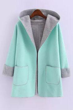 Hooded Fleece Lining Coat BLUE: Jackets & Coats   ZAFUL