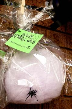 Cotton candy spider web take-home treats for Halloween