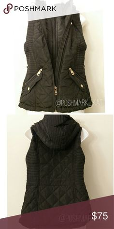 """Insulated Thermal Vest Warm Insulated Vest Color: Black Available sizes: M  -Chill guard double-zip closure -Zip pockets -Attached hood with elastic drawstring pull -Faux-fur body & hood lining  -Gold tone hardware -Curved hem at back *Actual item shown in pictures   -Approximate Measurements- Size M: Bust 38"""" length 25""""  Brand New with tags Boutique Jackets & Coats Vests"""