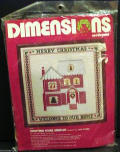 "New 1982 Dimensions Needlepoint Christmas Home Sampler 9020 18"" x 18"" #Dimensions"