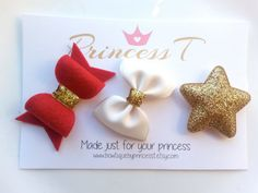 Christmas/Holiday Trio Set Red Felt Bow by BowtiquebyprincessT
