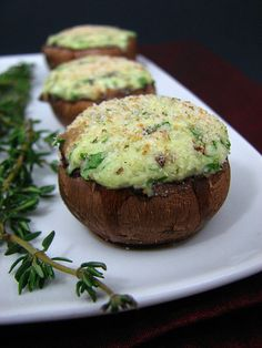 Vegetarian 3-cheese stuffed mushrooms. grandpa loves these things. gonna have to make them!
