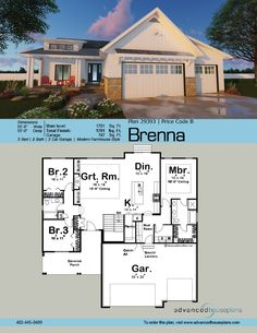 The Brenna house plan is a Modern Cottage ranch with a functional floor plan and unique exterior. It combines eclectic use of materials, not too unlik. , The Brenna house plan is a Modern Cottage ranch with a functional floor plan an. House Plans One Story, New House Plans, Story House, Small House Plans, House Floor Plans, Basement House Plans, Ranch House Plans, Ranch Floor Plans, Rambler House Plans