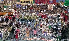 The city of Athens, the capital of Greece, was liberated in ⠀ ⠀ Tassos (Alevizos Anastasios) - The Liberation of Athens, National Gallery of Greece - Alexandros Soutzos Museum⠀ Colour woodcut, 45 x 77 cm⠀ Donated by A.Tassos and Loukia Maggiorou⠀ ⠀ Art History, History Pics, Military History, Art Day, Oil On Canvas, City Photo, Art Gallery, Graphic Design, Fine Art