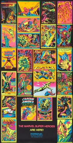 MARVEL's Classic Black Light Posters Are Making a Comeback | 13th Dimension, Comics, Creators, Culture Poster Series, Movie Poster Art, Comic Books Art, Comic Art, Book Art, Marvel Masterworks, Black Light Posters, Sale Poster, Marvel Heroes