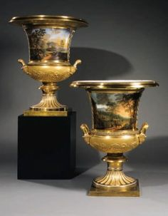 A pair of monumental two-handled Campana Vases BY THE IMPERIAL PORCELAIN FACTORY, ST. PETERSBURG, PERIOD OF NICHOLAS I, 1840 Price realised GBP 485,500 Estimate GBP 100,000 - GBP 120,000