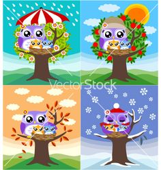Illustration of owl couple illustration vector art, clipart and stock vectors. Seasons Song, Four Seasons, Owl Crafts, Diy And Crafts, Owl Theme Classroom, Beautiful Owl, Couple Illustration, Paint Party, Mothers Love