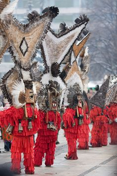 The Surva International Festival of Masquerade Games in the village of Pernik, Bulgaria - Terrifyingly the men, known as Kukeri, enter houses in the village, clanging their bells to ward off evil spirits. Held at the beginning of February