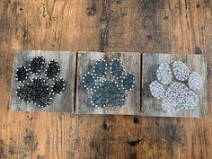 Barnwood string art set of three paw prints - visit Simply Signs on Facebook @simplysigns2 to see more! Nail String Art, Diy Ideas, Craft Ideas, Money Makers, Dog Crafts, Paw Prints, Nail Art Diy, Summer School, Secret Santa