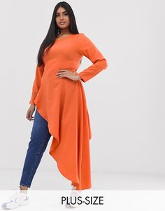 Verona Curve aysmetric long sleeved top in orange USD Orange Fashion, Pop Fashion, Womens Fashion, Plus Size Womens Clothing, Plus Size Outfits, Clothes For Women, Verona, Orange Mode, Dress For Body Shape