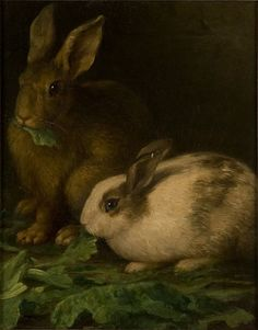 A charming 19th century oil painting on canvas depicting a pair of domesticated bunny rabbits munching on lettuce.  The figures stand out sublimely against a dark background and are painted with fine detail by an obviously talented artist.  The painting is not signed but touches on a subject that is always popular and welcoming.  Animal paintings never cease to be desirable.