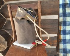 Waxed canvas Ditty Bag. Brown with by JayHandmadeColorado on Etsy