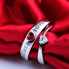 New Cubic Zirconia 925 Sterling Silver Plated White Gold Lovers' Ring