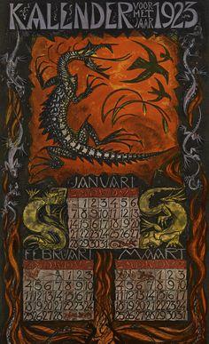 Kalender voor het jaar 1923. Januari, februari, maart. Leo Visser (illustrator), Felix P.Abrahamson(publisher)