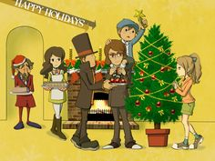 Tumblr Link: { x} How does one draw backgrounds... Hershel Layton (レバード Bronev), Jean Descole/Desmond Sycamore (Hershel Bronev) and Leon Bronev © Professor Layton /...