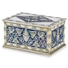 A Fabergé silver-gilt and enamel table cigar box, Moscow, rectangular, the cover and the sides all similarly decorated with finely cast and chased Art Nouveau floral designs against an opaque royal blue enamel ground Art Nouveau, Faberge Eier, Russian Art, Russian Style, Antique Boxes, Jewellery Boxes, Jewelry, Objet D'art, Tin