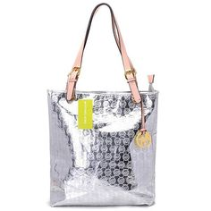 Michael Kors Monogram Mirror Metallic Large Silver Totes.More than 60% Off, I enjoy these bags.It's pretty cool (: JUST CLICK IMAGE~ | See more about leather totes, michael kors and michael kors outlet.