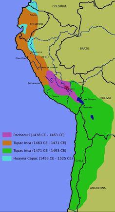 El imperio Inca surgió en el Valle de Cuzco con el establecimiento allí de un grupo étnico que emigró hacia el año 1100 a.C, posiblemente proveniente del altiplano de Bolivia. El imperio Inca ocupó lo que actualmente es Perú, Ecuador, Colombia, el norte y centro de Chile, el oeste de Bolivia y el noreste de Argentina.