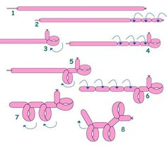 Stepwise instructions to make a balloon dog