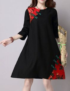Women loose fitting over plus size ethnic flower plate buckle dress midi tunic #Unbranded #dress #Casual