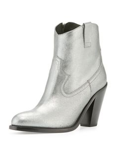 Cutris 80mm Western Ankle Boot, Silver