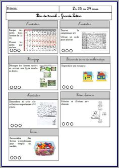 plan de travail semaine 1 School Organisation, Education Positive, Grande Section, File Folder Games, Free Frames, Ms Gs, Montessori, Back To School, Preschool