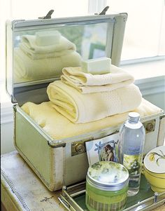 Guest Amenities Put together a welcome kit for guests in a vintage travel case, including such necessities as towels, soap, and shampoo!